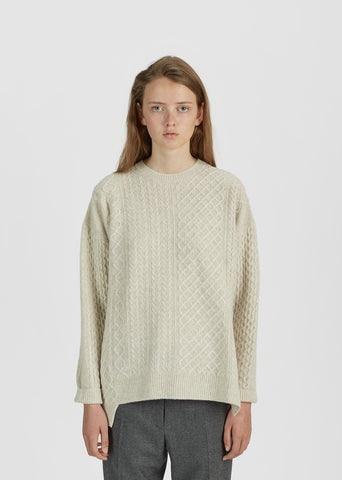 Crewneck Cable Knit Sweater