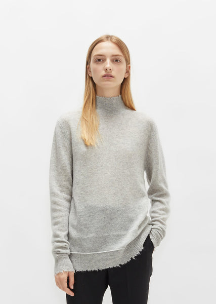 Distressed Edge Cashmere Turtleneck