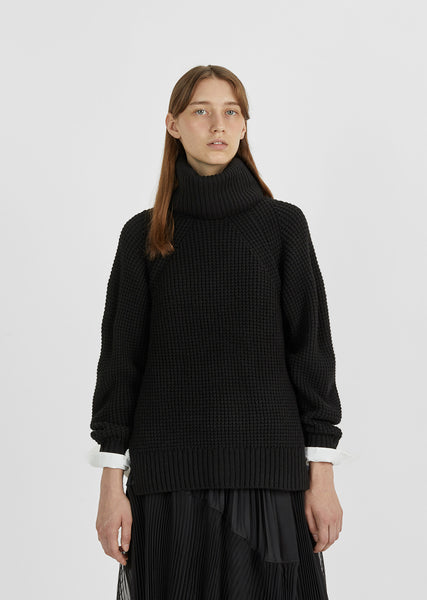 Detachable Turtleneck Knit Pullover