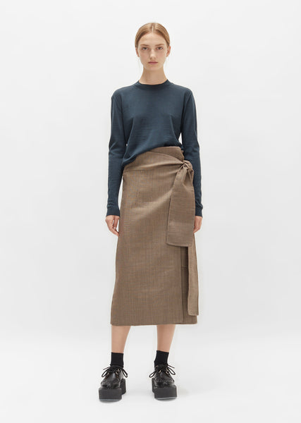 Double Faced Wool Houndstooth Wrap Skirt