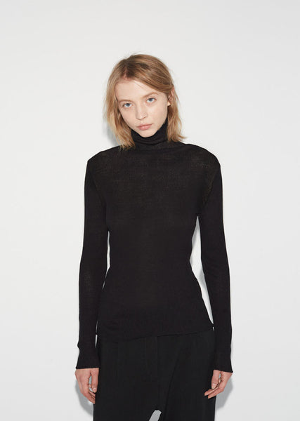 Wool Crepe Turtleneck