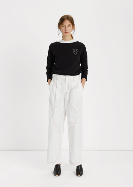 Contrast Stitch Wide-leg Pants