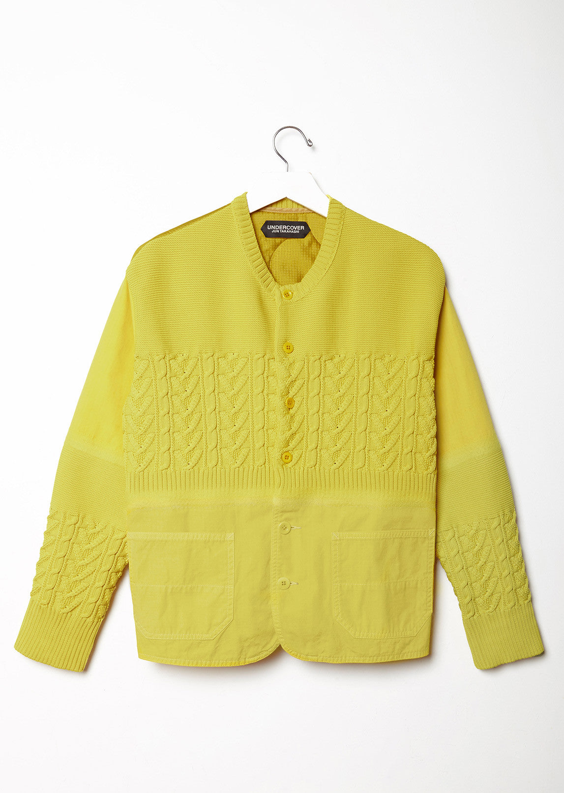 Multitextured Cable-Knit Cardigan