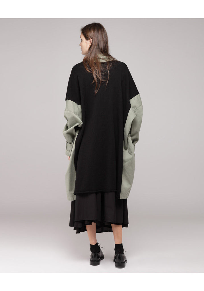 Knit Panel Army Coat