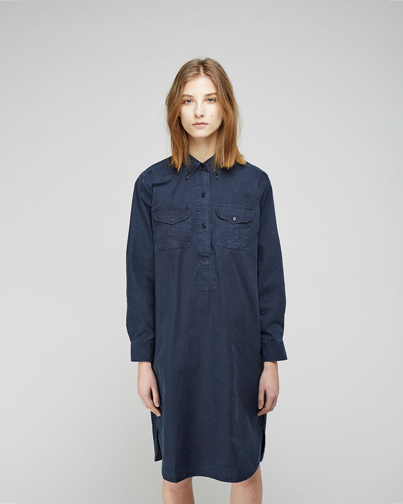 Cotton Canvas Military Shirtdress