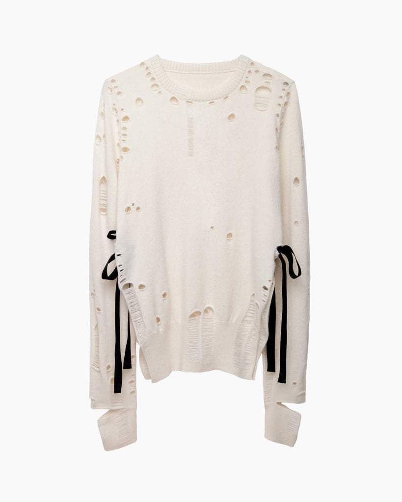 Distressed Cashmere Pullover