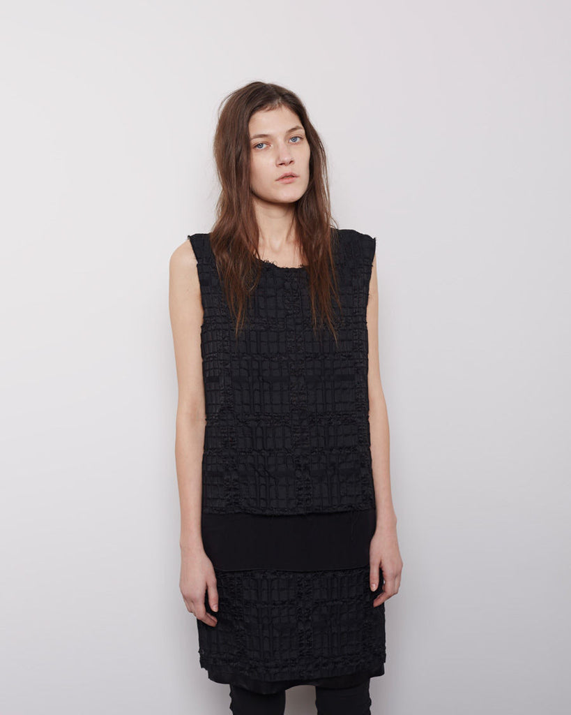 Layered Check Jacquard Dress