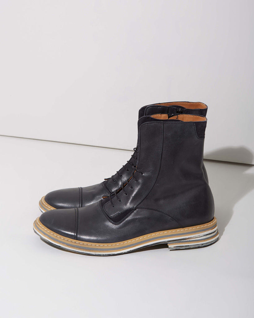 Brushed Effect Combat Boot