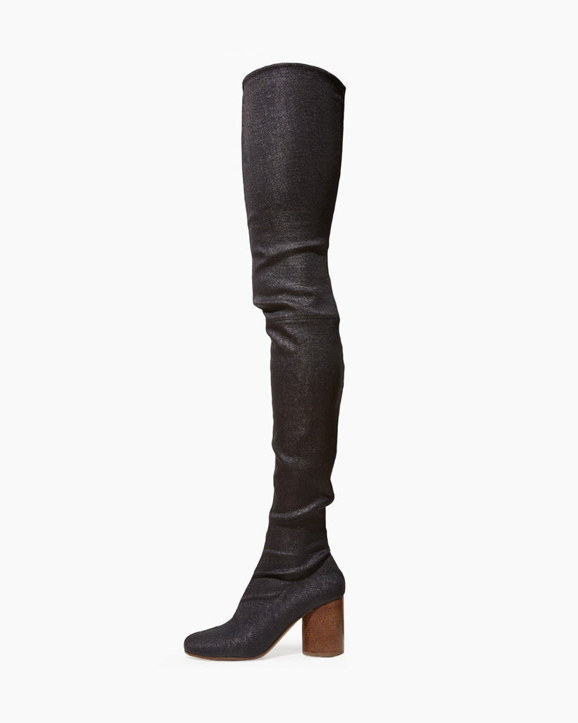 Coated Burlap Thigh High Boot