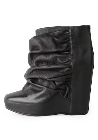 Ruched-Wedge Boot