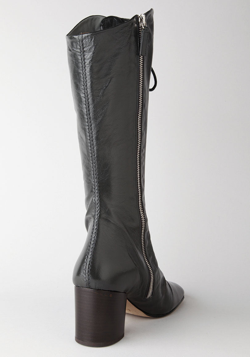 Lace-Up Mid Calf Boot