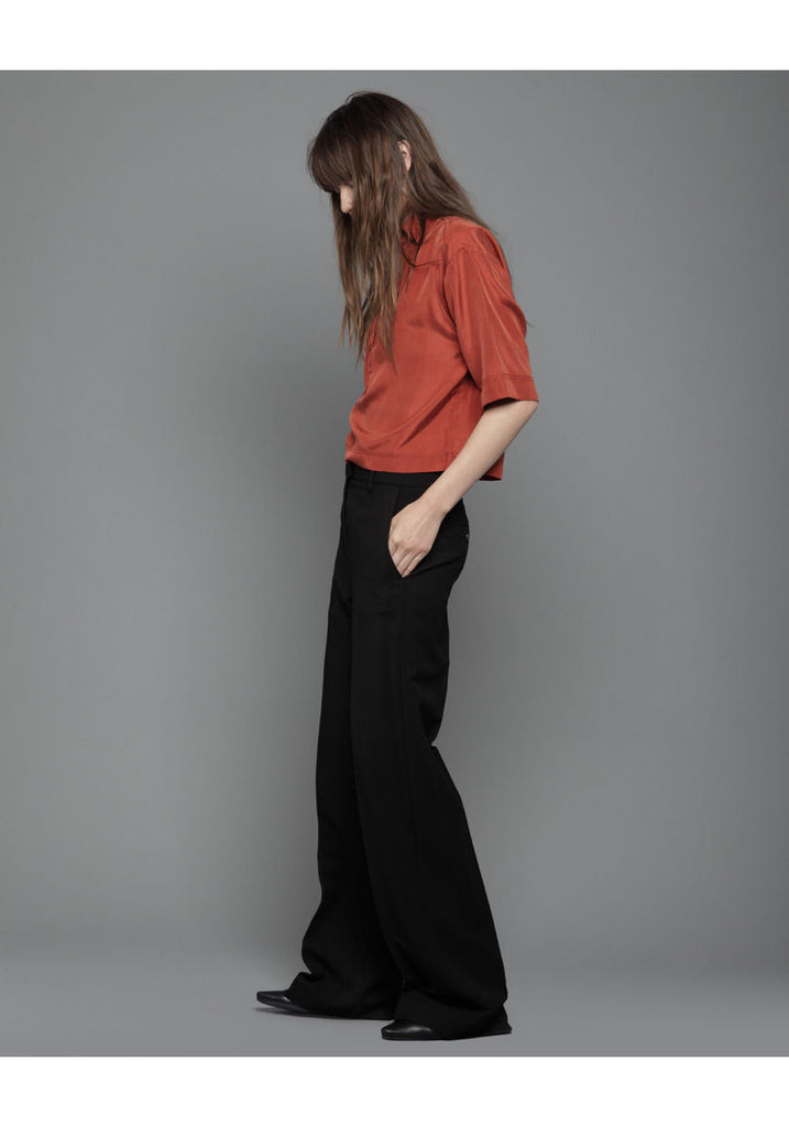 Boxy Cropped Silk Shirt