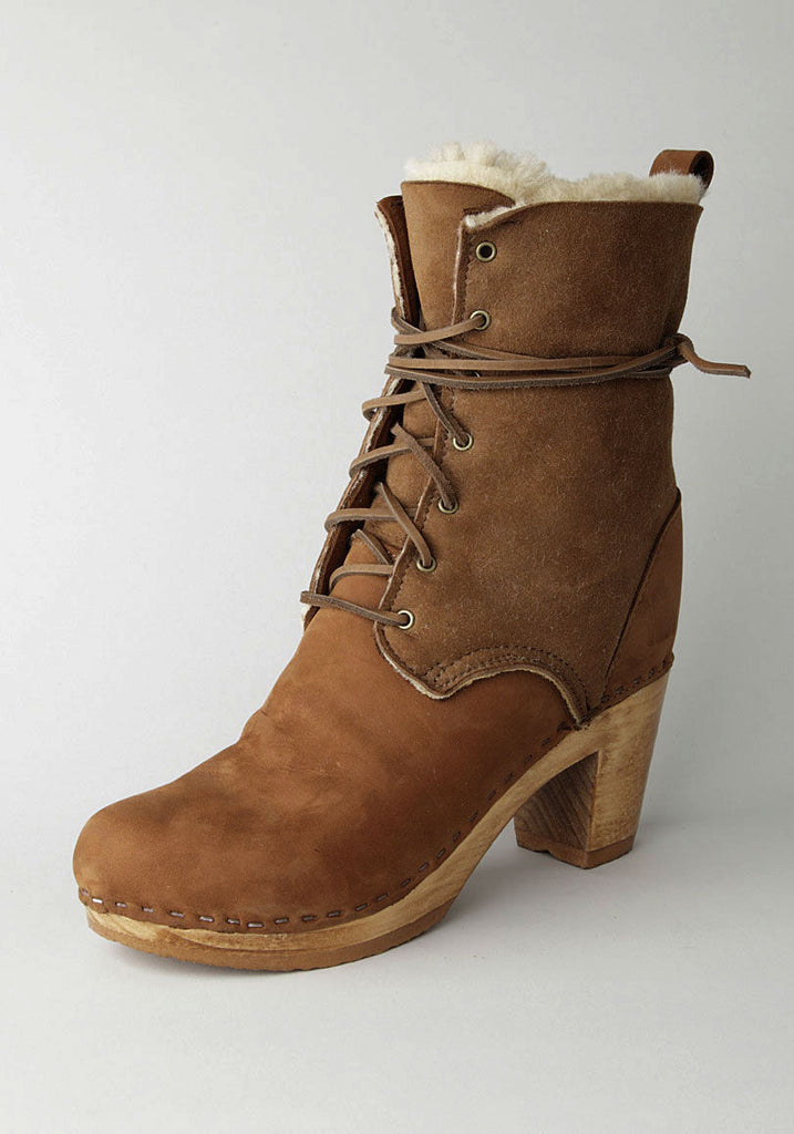 Lace-Up High Heel Boot with Shearling