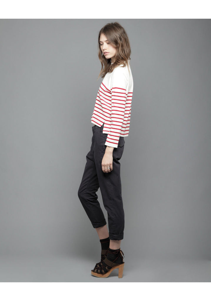 Cropped Red Stripe Top