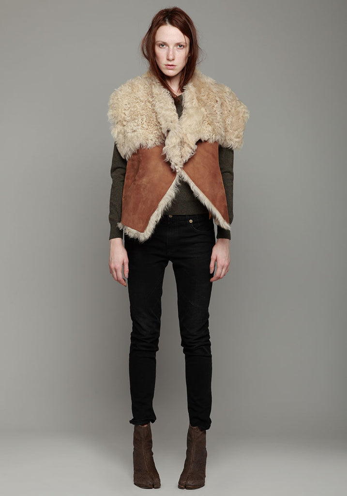 High Collar Shearling Vest
