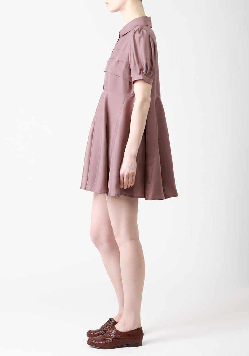 Pleated Godet Dress