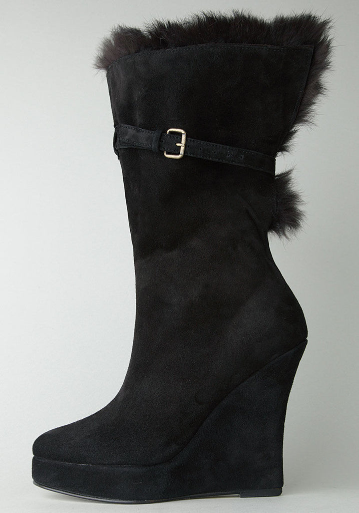 Wedge Fur Cuff Boot