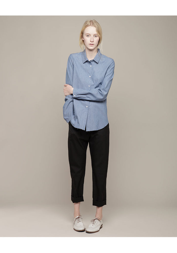 Raw Edge Hem Shirt
