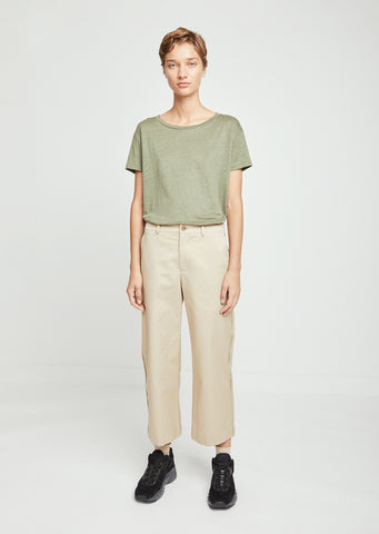 Relaxed Cotton Cropped Trousers