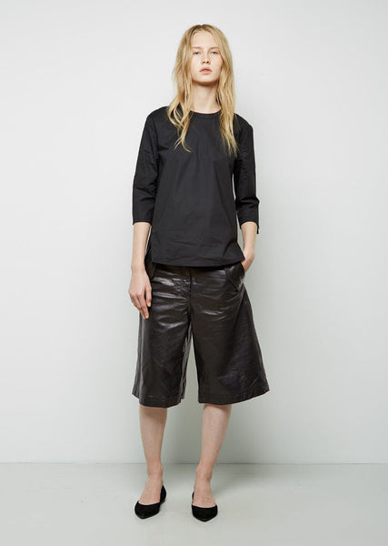 Acne Studios Hunter Paper Wide Leather Shorts La Garconne