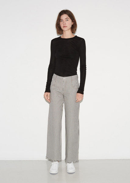 Frayed Striped Cotton Pants