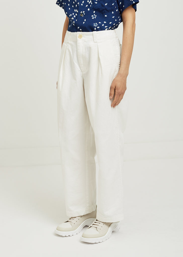 Herringbone One Tuck Work Pants