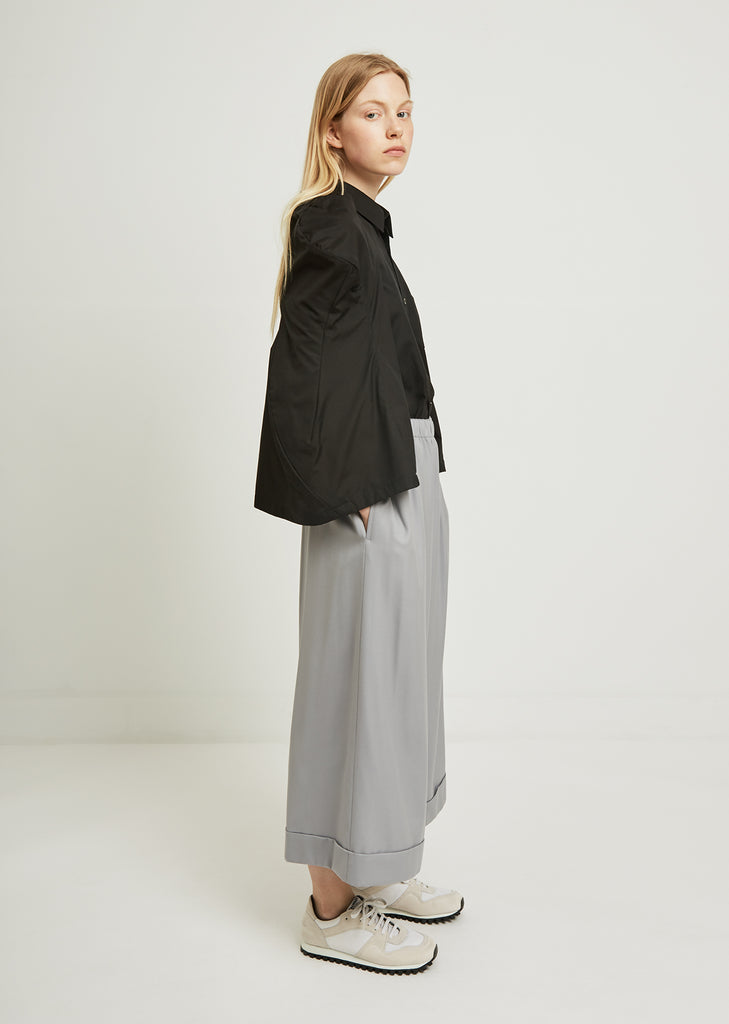 Wool Twill Formal Wide Leg Pants