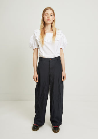 Garment Treated Wide Leg Trousers