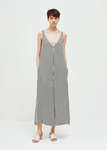 Striped Viscose Sleeveless Jumpsuit