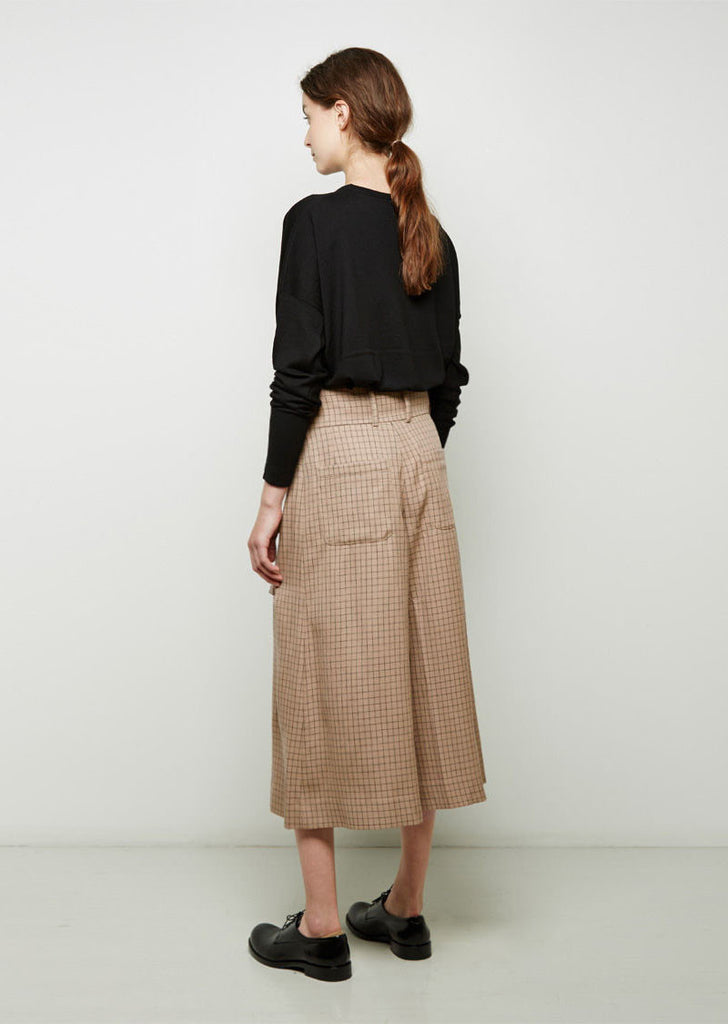 Windowpane Pleat-Front Culotte