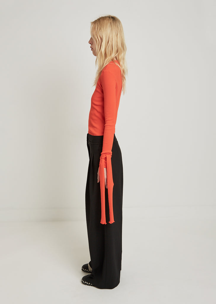 Exposed Seam Wide Leg Trousers