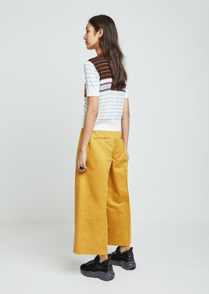 Cotton Linen Drill Wide Leg Pants