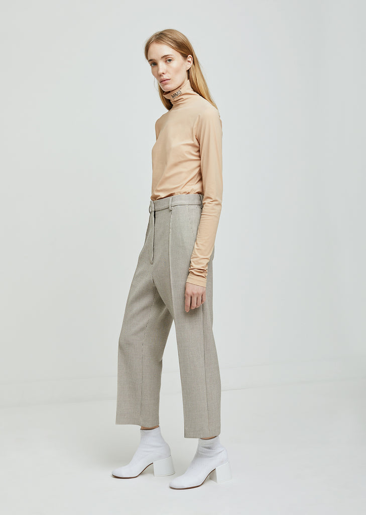 Bonded Jersey Check Trousers