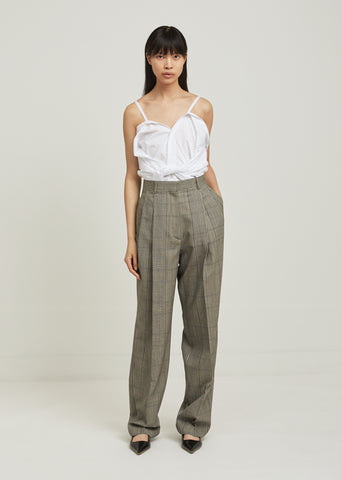 Over Check Wool Trouser