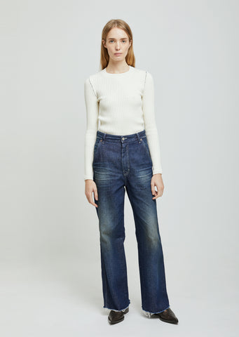 "Dark ""Garage"" Wash Denim Wide Leg"