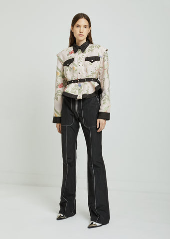 Pin Tuck Boot Cut Trousers