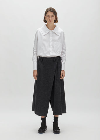 Wool & Cotton Wrap Front Trouser