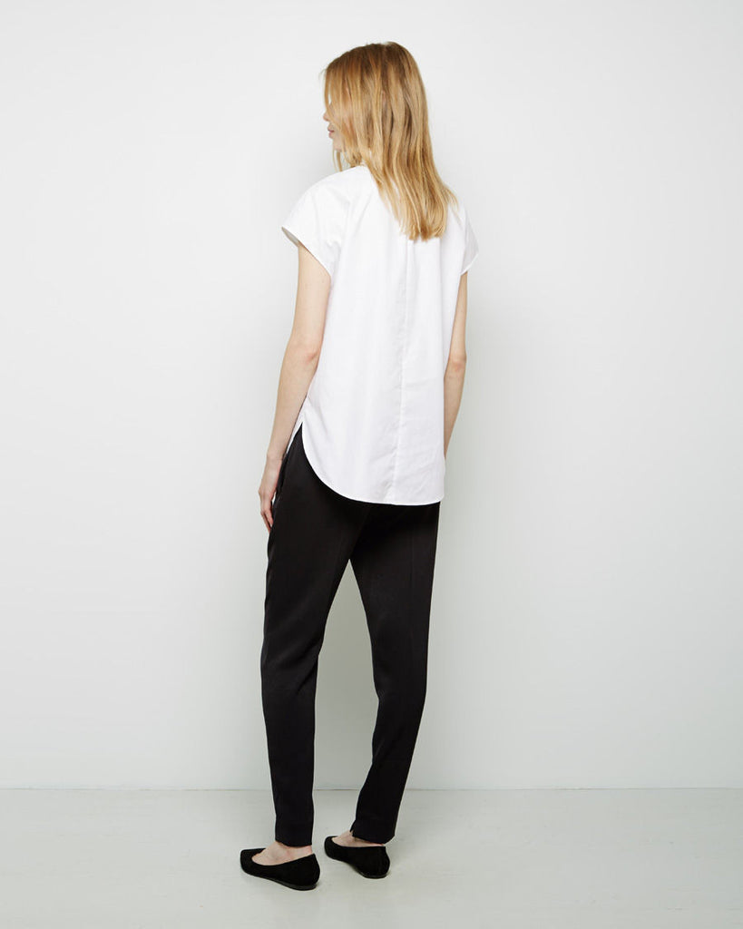 Tapered Trouser With Smocked Charmeuse Waistband
