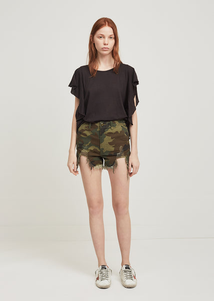 Camo Distressed Camp Shorts
