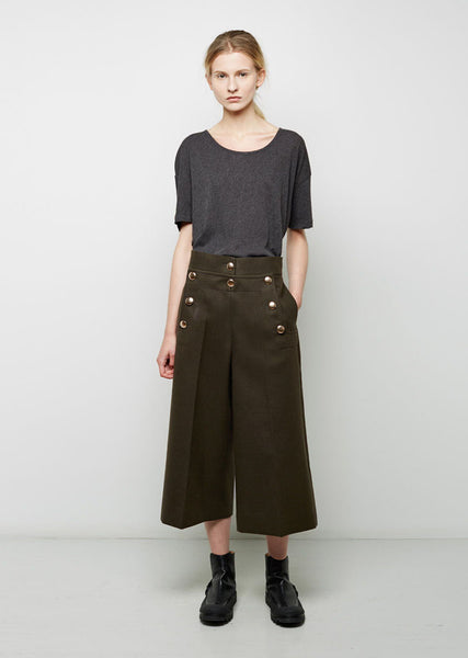 Melton Cropped Sailor Pant