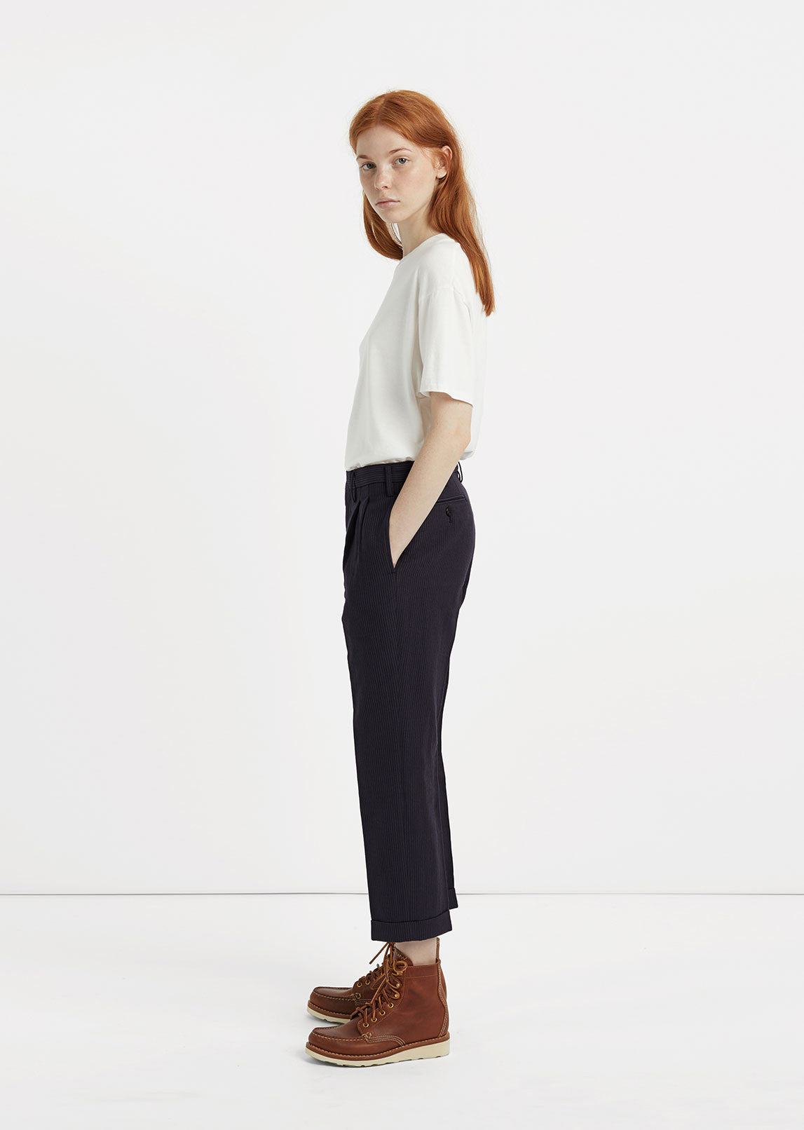 Striped Pleated Trouser