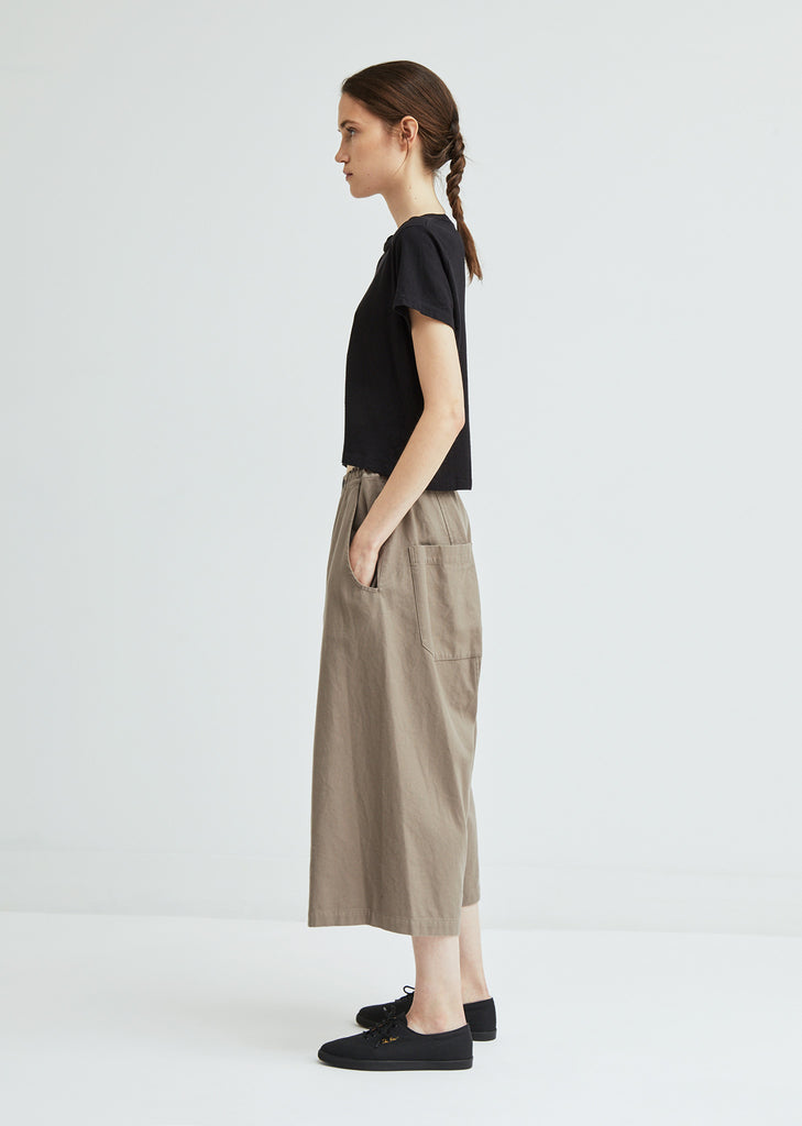 Back Draped Wide Cotton Pant