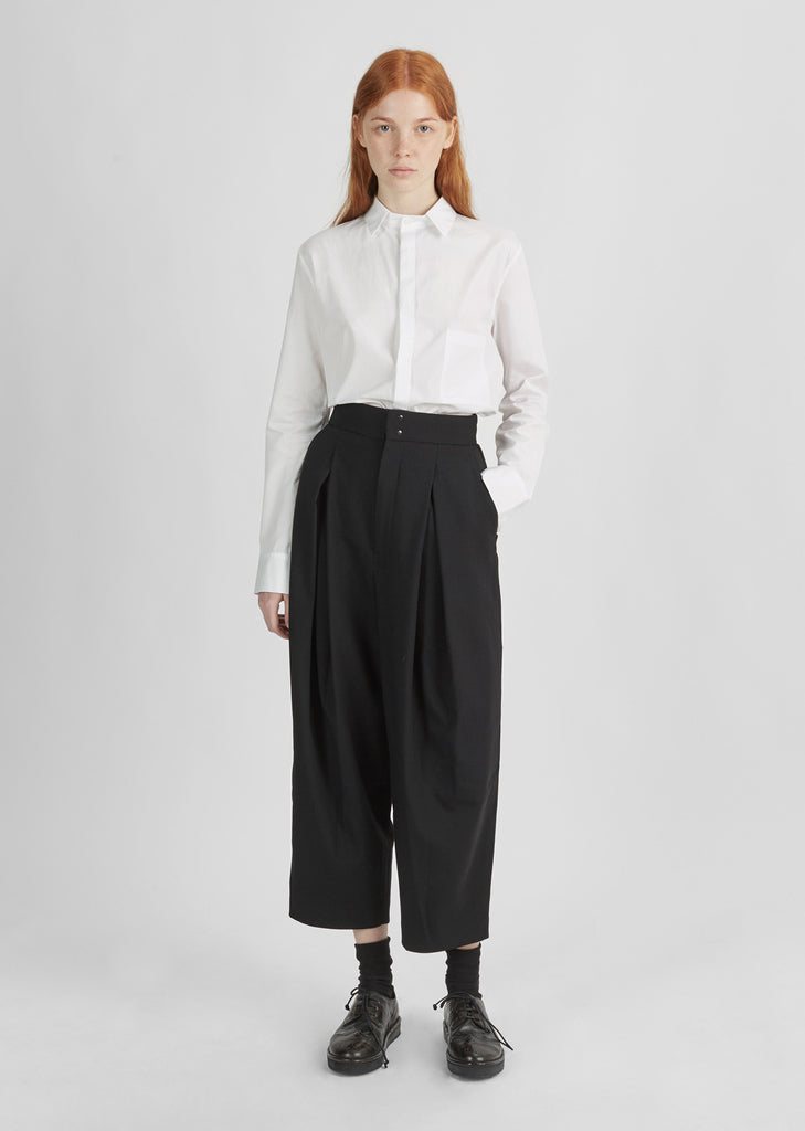 Wool Dropped Tuck Pant
