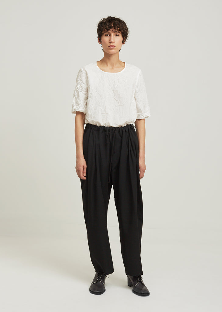 Gabardine West Gathered Waist Wool Pant