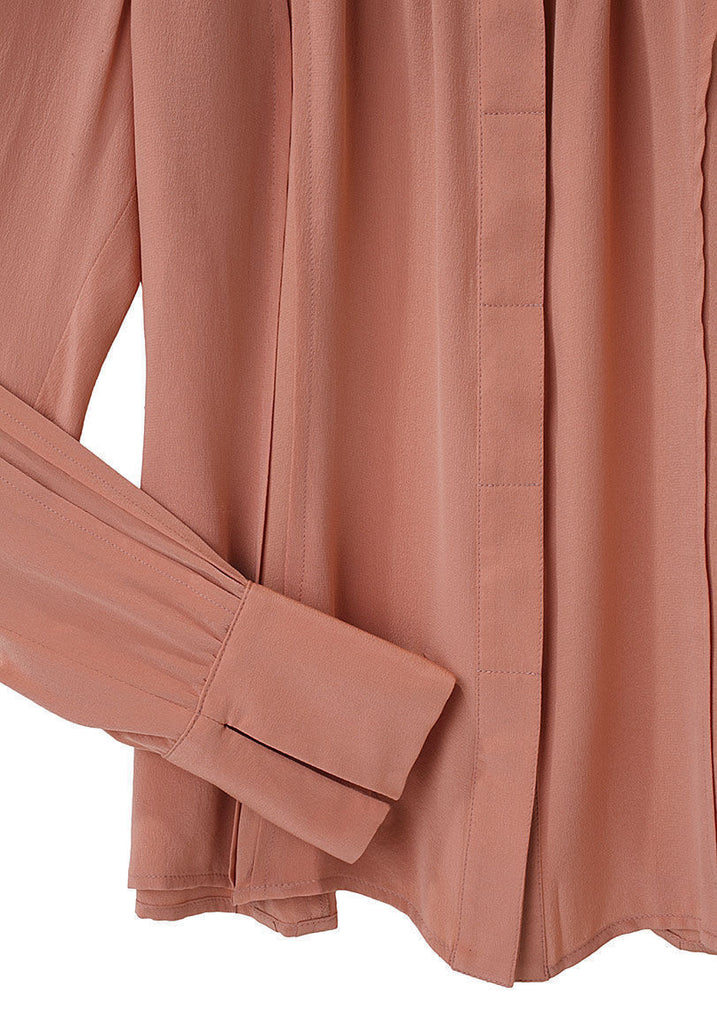 Pleat Neck Silk Blouse