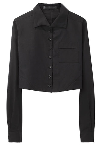 Cropped Button Front Shirt