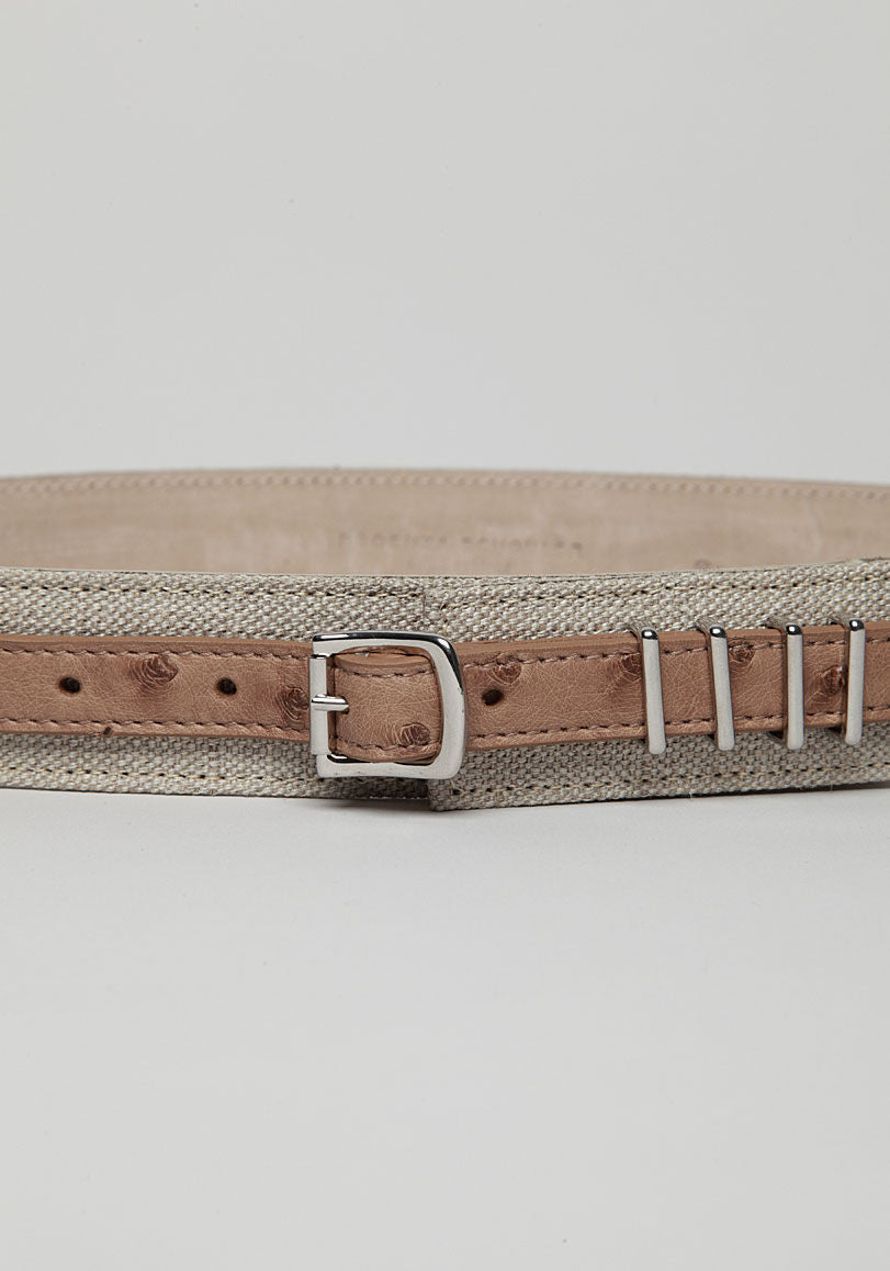 Leather Belt On Linen