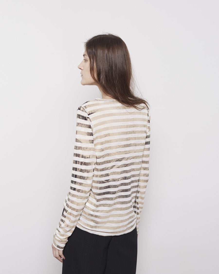 Long Sleeve Striped Tissue Tee