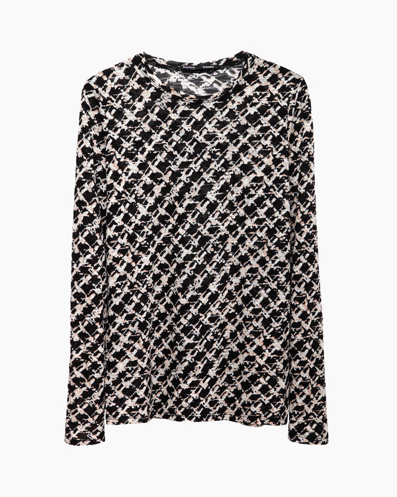 Long Sleeve Tweed Printed Tissue Tee