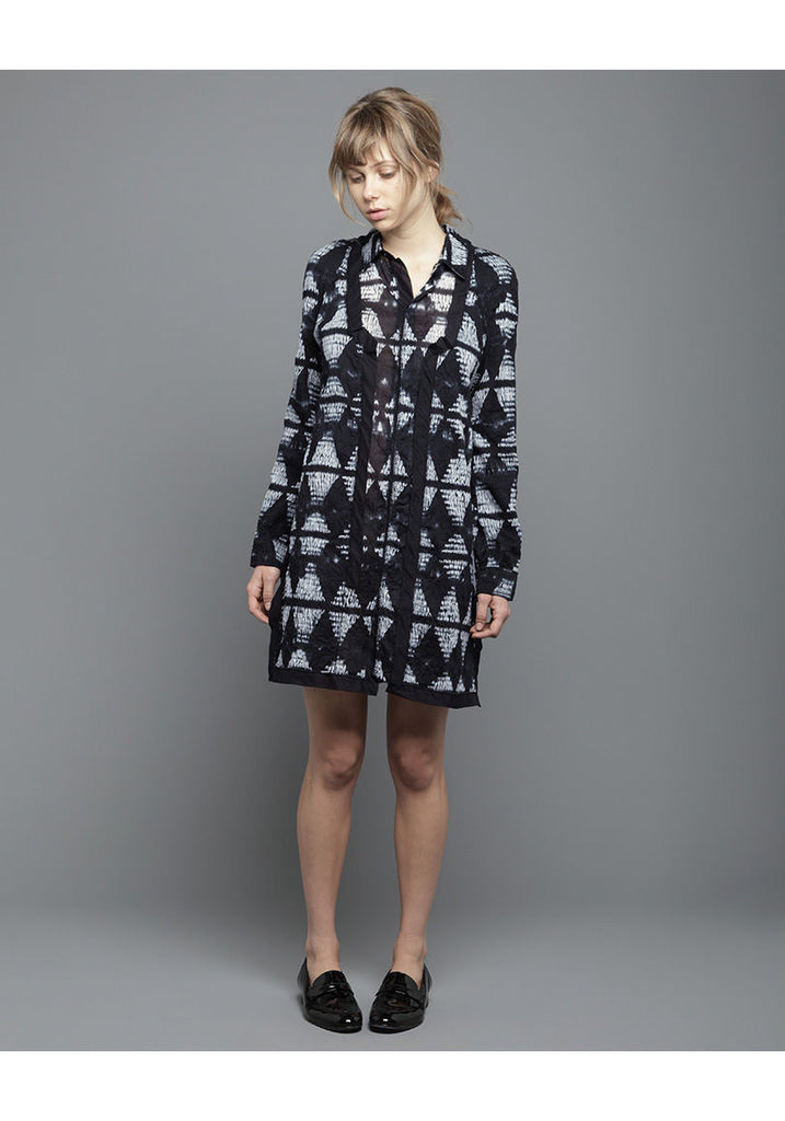 Long Sleeved Voile Shirtdress